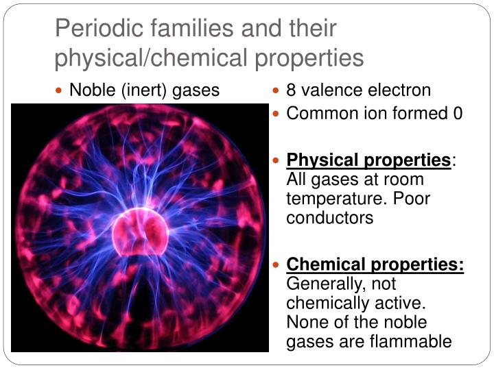 Periodic families and their physical/chemical properties