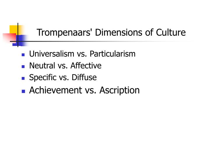 Trompenaars' Dimensions of Culture