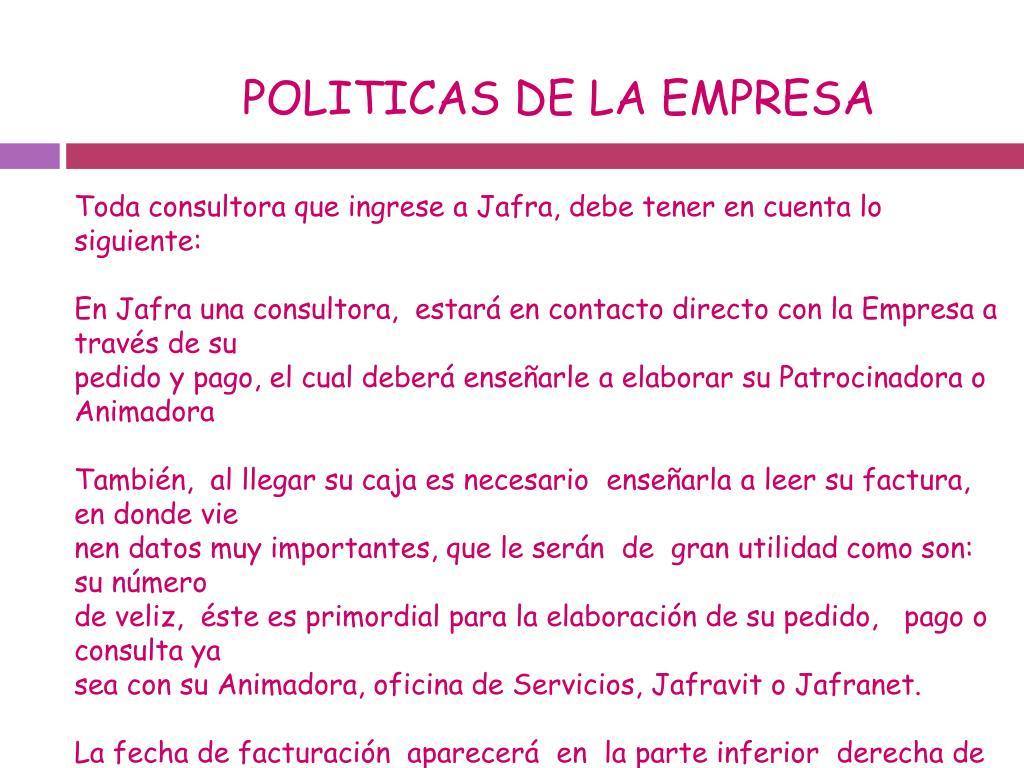 POLITICAS DE LA EMPRESA