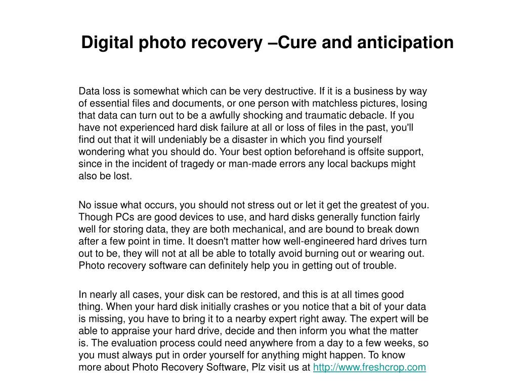 digital photo recovery cure and anticipation l.