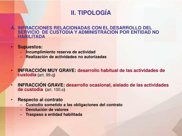 II. TIPOLOGÍA