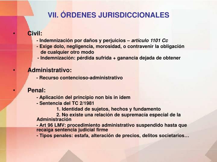 VII. ÓRDENES JURISDICCIONALES