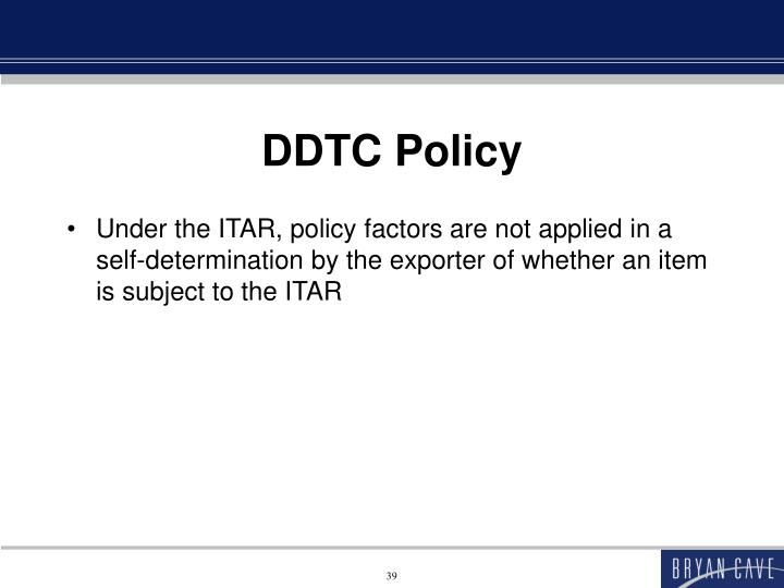 DDTC Policy