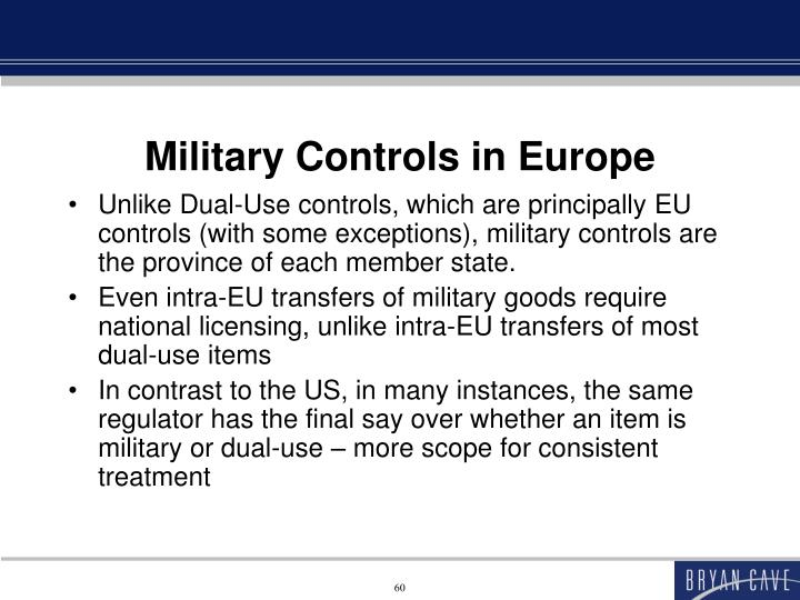 Military Controls in Europe