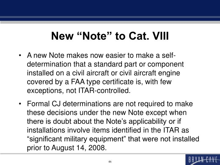 """New """"Note"""" to Cat. VIII"""