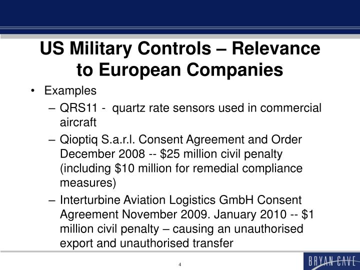 US Military Controls – Relevance to European Companies