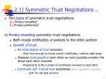 2 1 s ymmetric t rust negotiations 1
