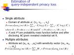 estimation of query independent privacy loss
