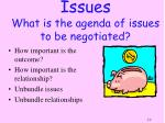 issues what is the agenda of issues to be negotiated