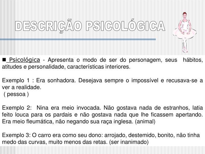 DESCRIÇÃO PSICOLÓGICA