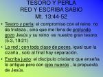 tesoro y perla red y escriba sabio mt 13 44 52