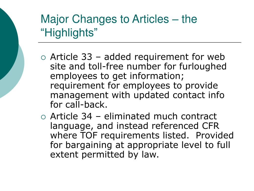 """Major Changes to Articles – the """"Highlights"""""""