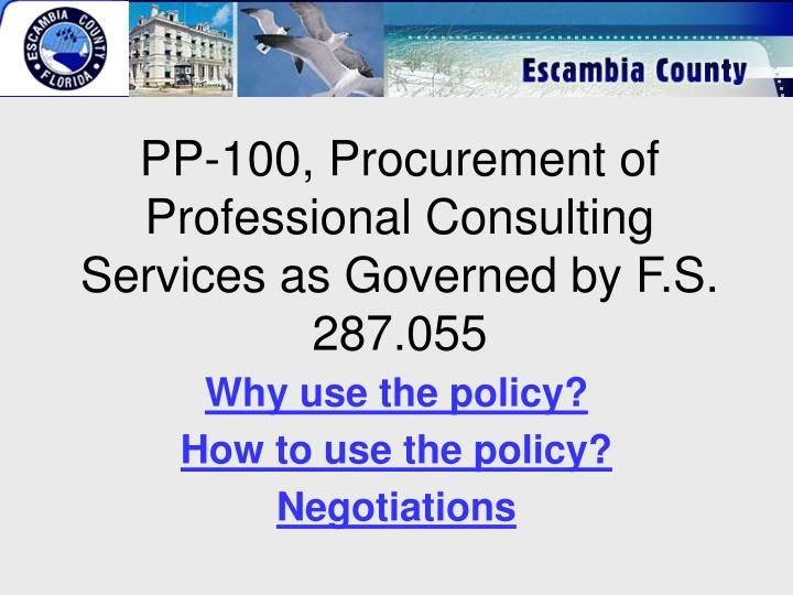 Pp 100 procurement of professional consulting services as governed by f s 287 055