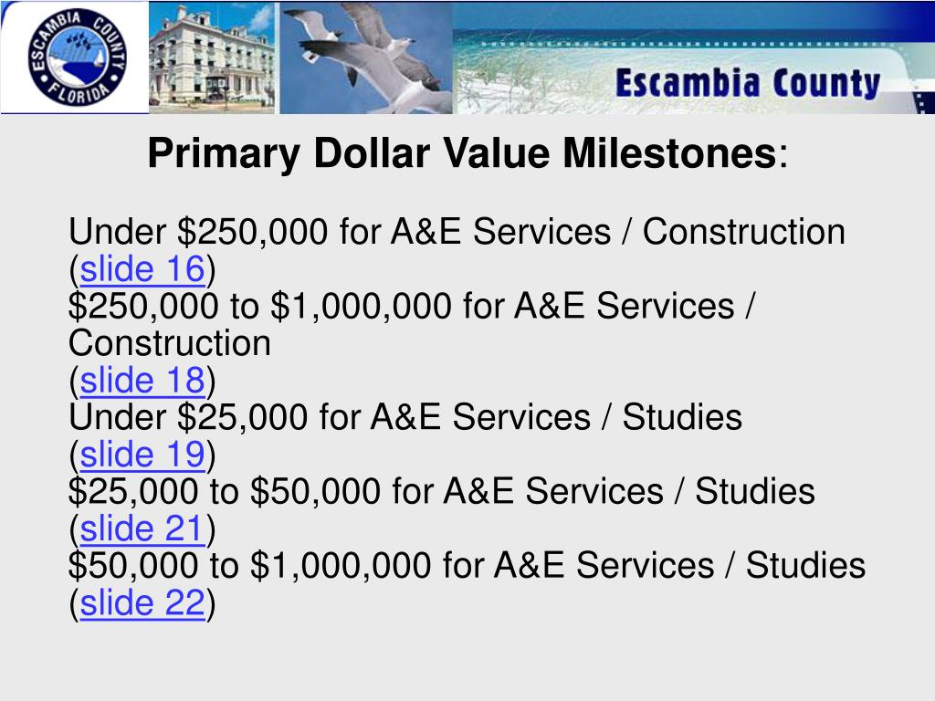 Primary Dollar Value Milestones