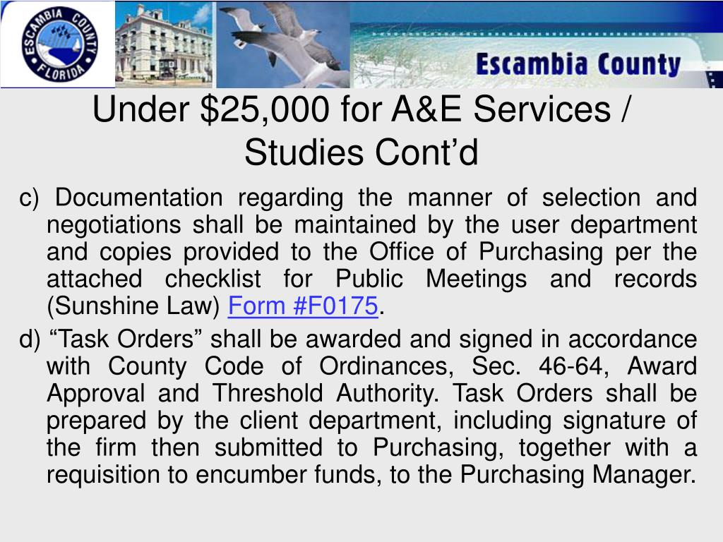 Under $25,000 for A&E Services / Studies Cont'd