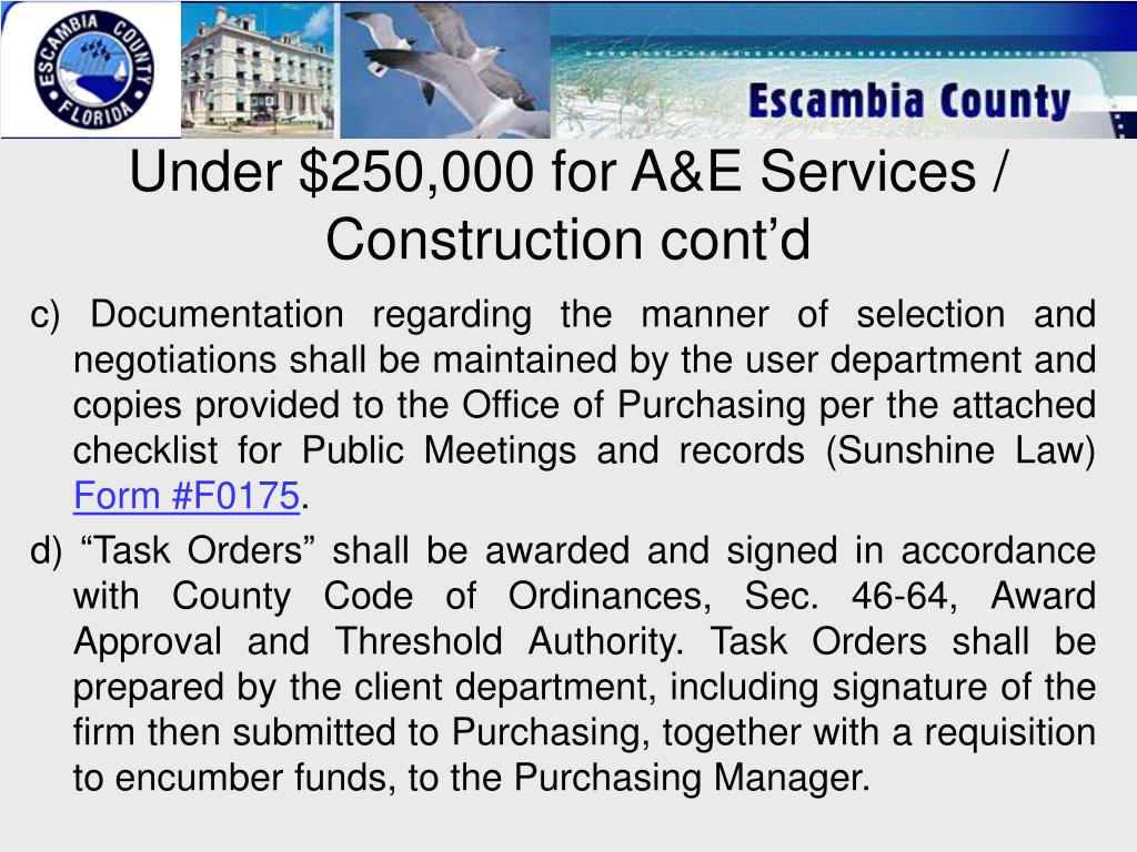 Under $250,000 for A&E Services / Construction cont'd