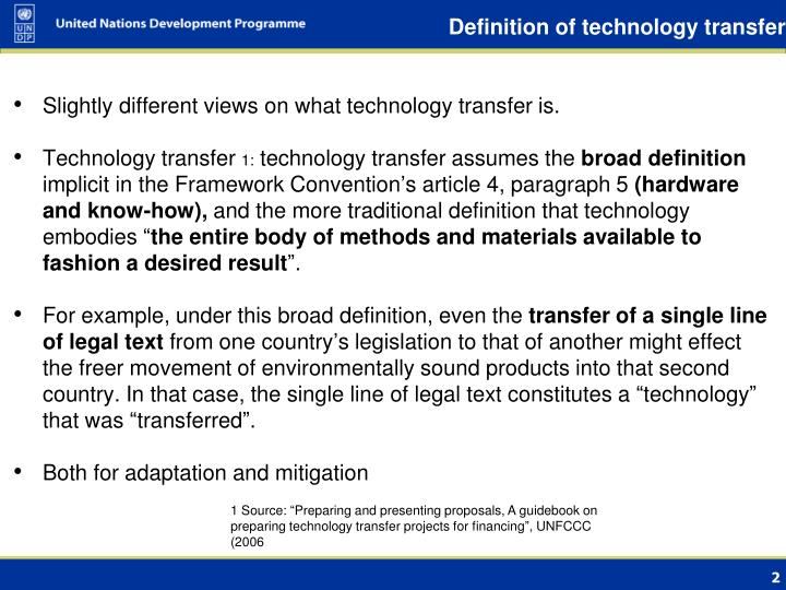 Definition of technology transfer