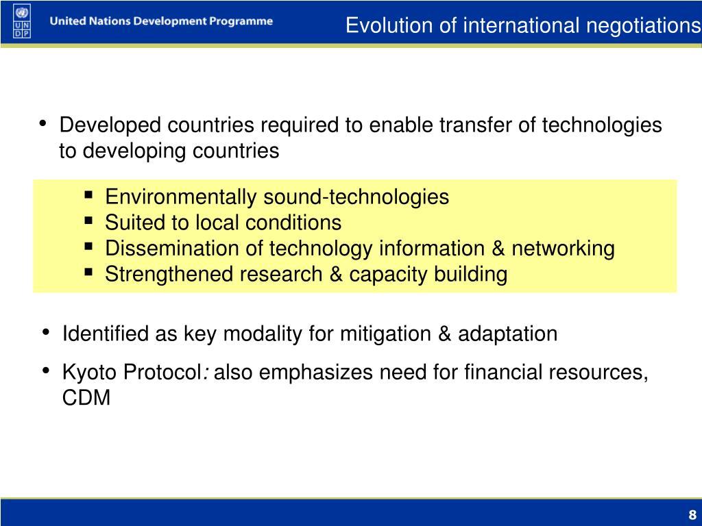 Evolution of international negotiations