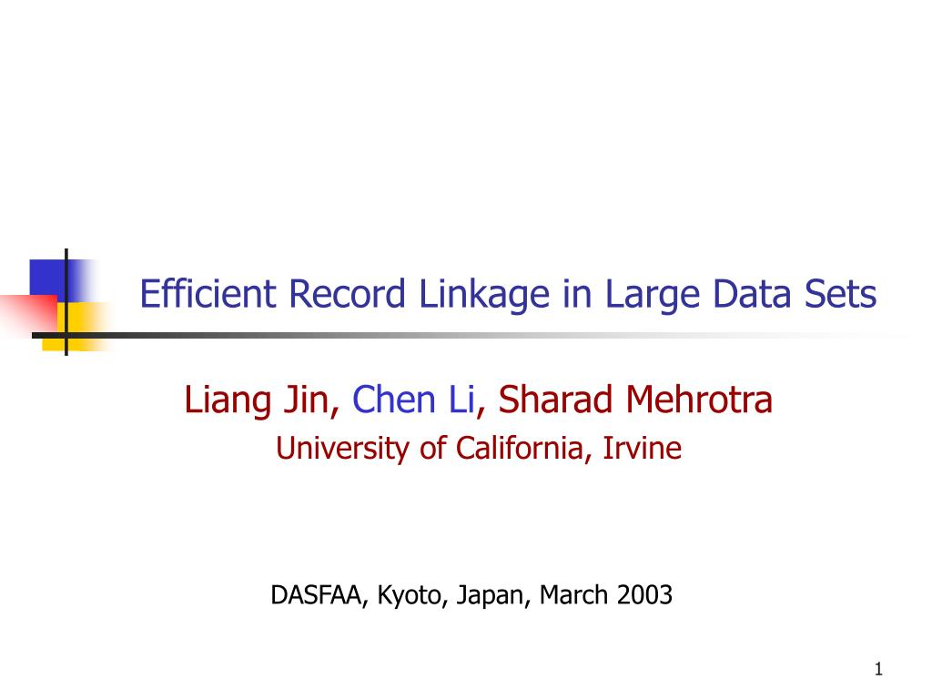efficient record linkage in large data sets l.
