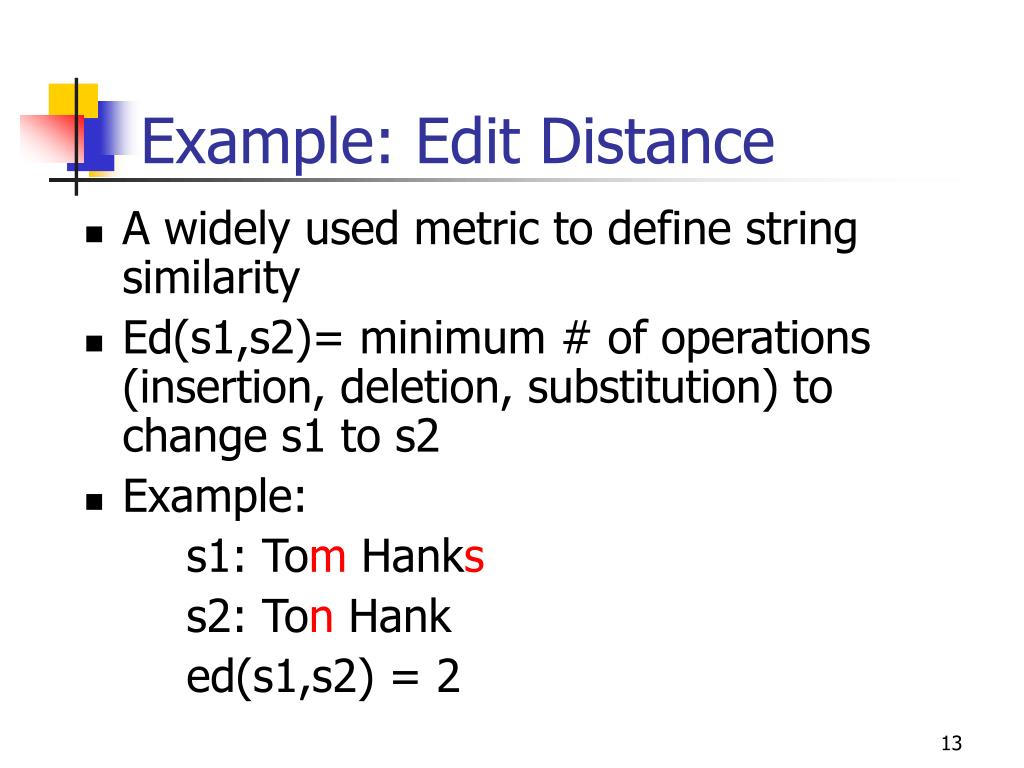 Example: Edit Distance