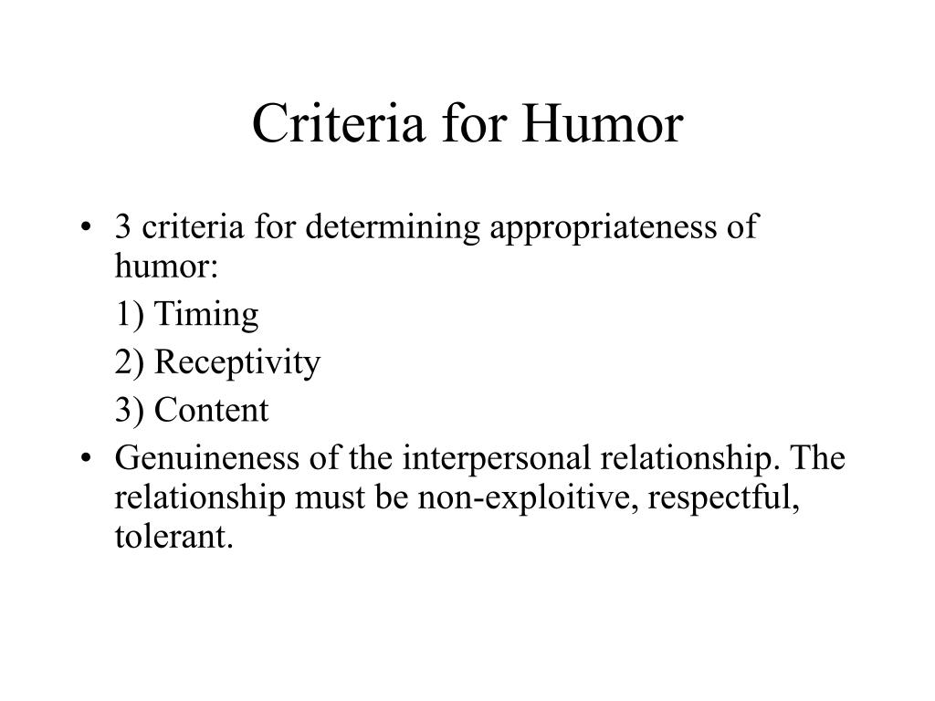 Criteria for Humor