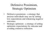 defensive pessimism strategic optimism