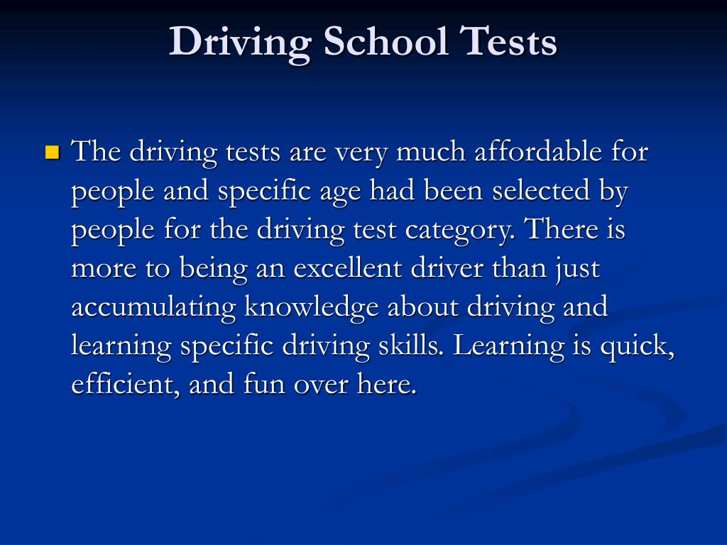Driving School Tests
