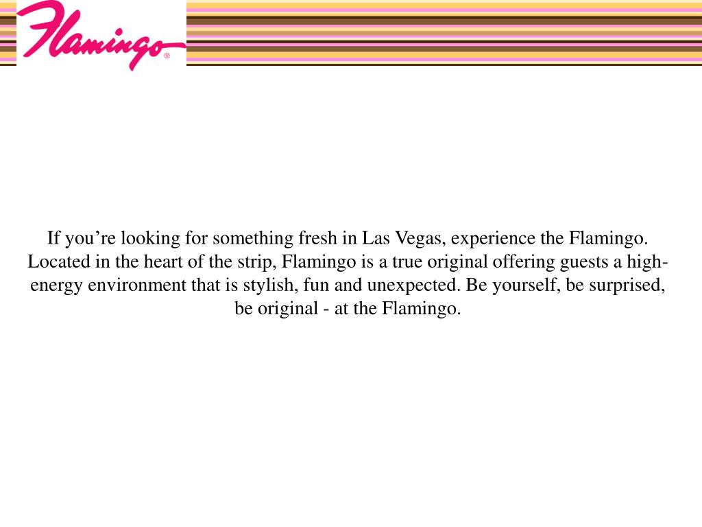 If you're looking for something fresh in Las Vegas, experience the Flamingo. Located in the heart of the strip, Flamingo is a true original offering guests a high-energy environment that is stylish, fun and unexpected. Be yourself, be surprised, be original - at the Flamingo.