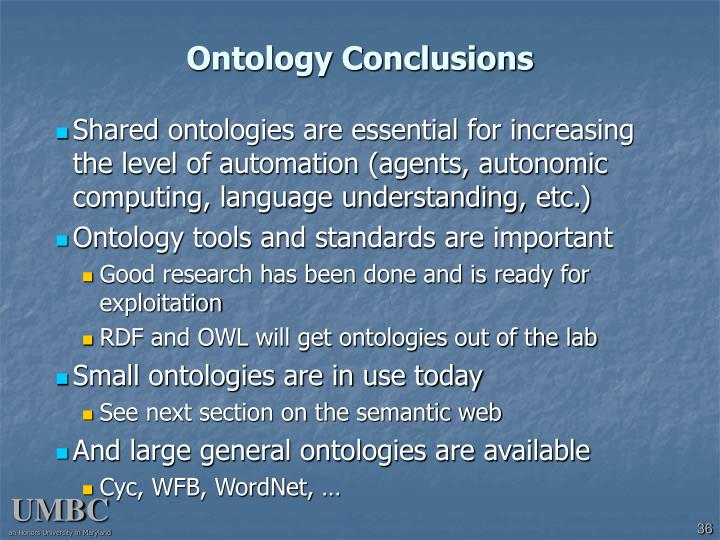 Ontology Conclusions