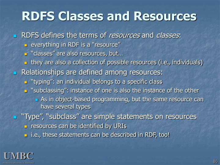 RDFS Classes and Resources