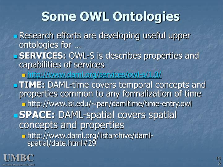 Some OWL Ontologies