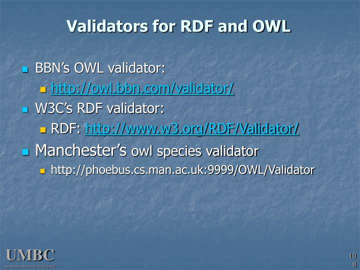 Validators for RDF and OWL