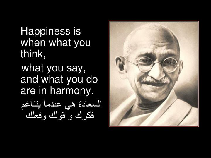 Happiness is when what you think,