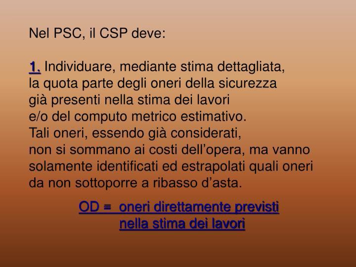 Nel PSC, il CSP deve: