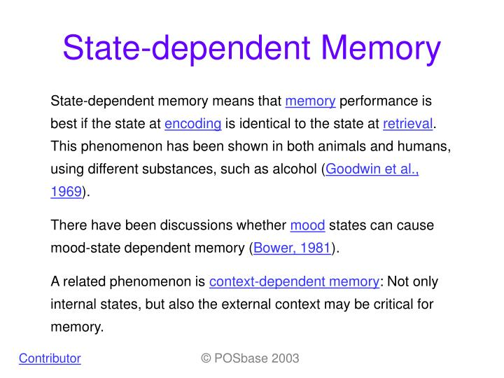 Ppt State Dependent Memory Powerpoint Presentation Id885485