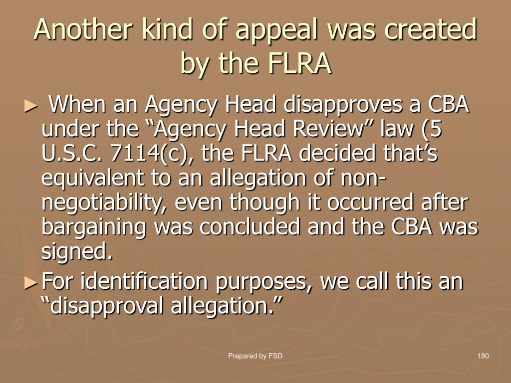 Another kind of appeal was created by the FLRA