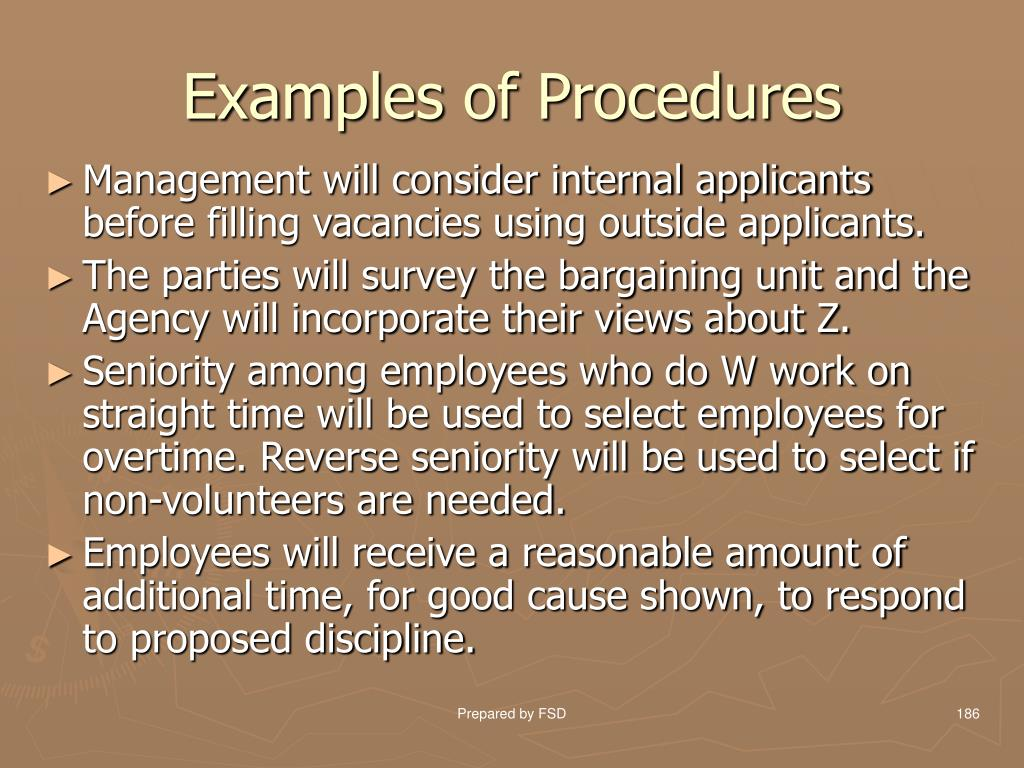 Examples of Procedures