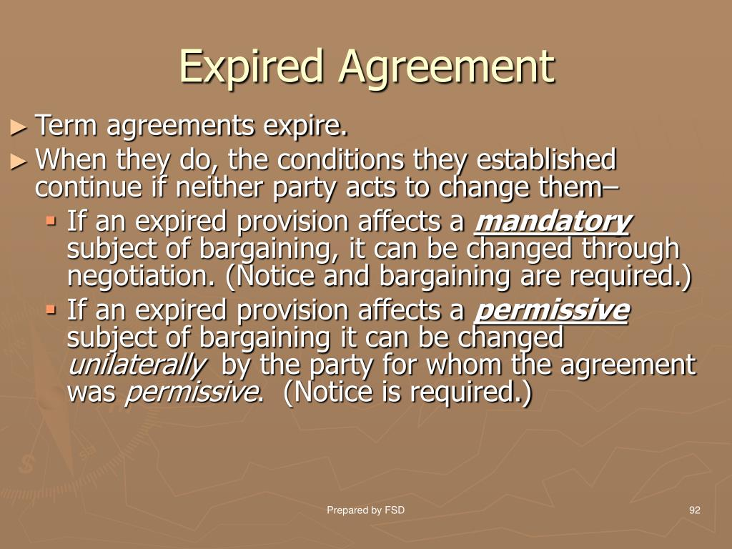 Expired Agreement