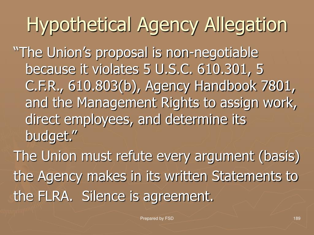 Hypothetical Agency Allegation