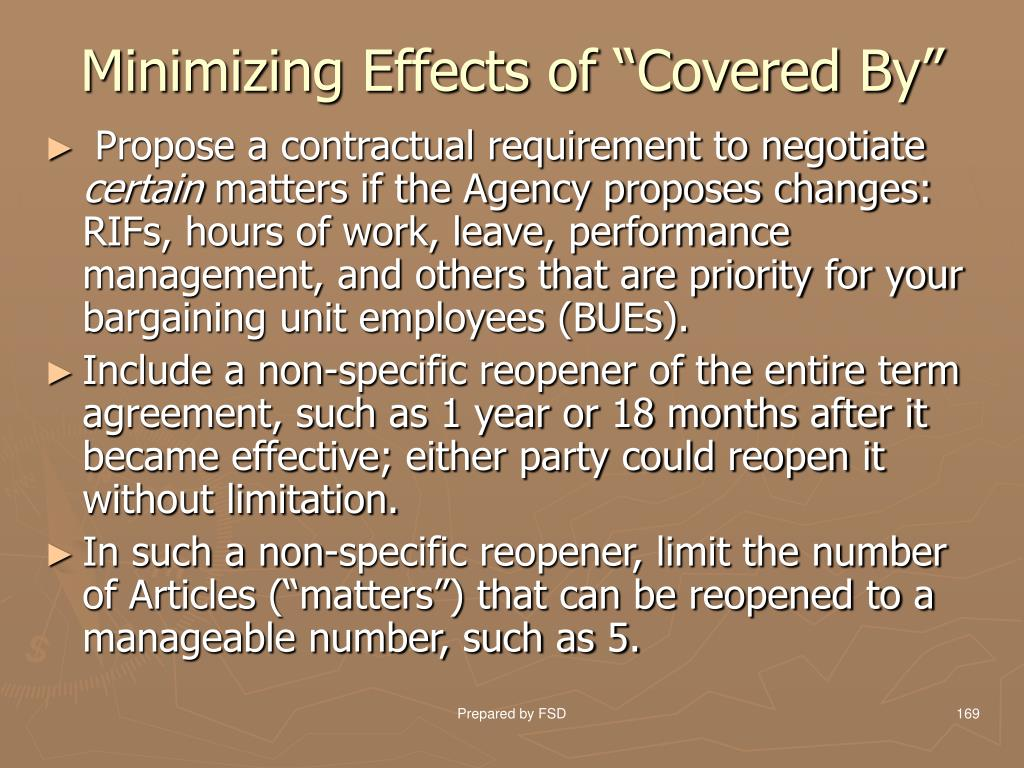 "Minimizing Effects of ""Covered By"""