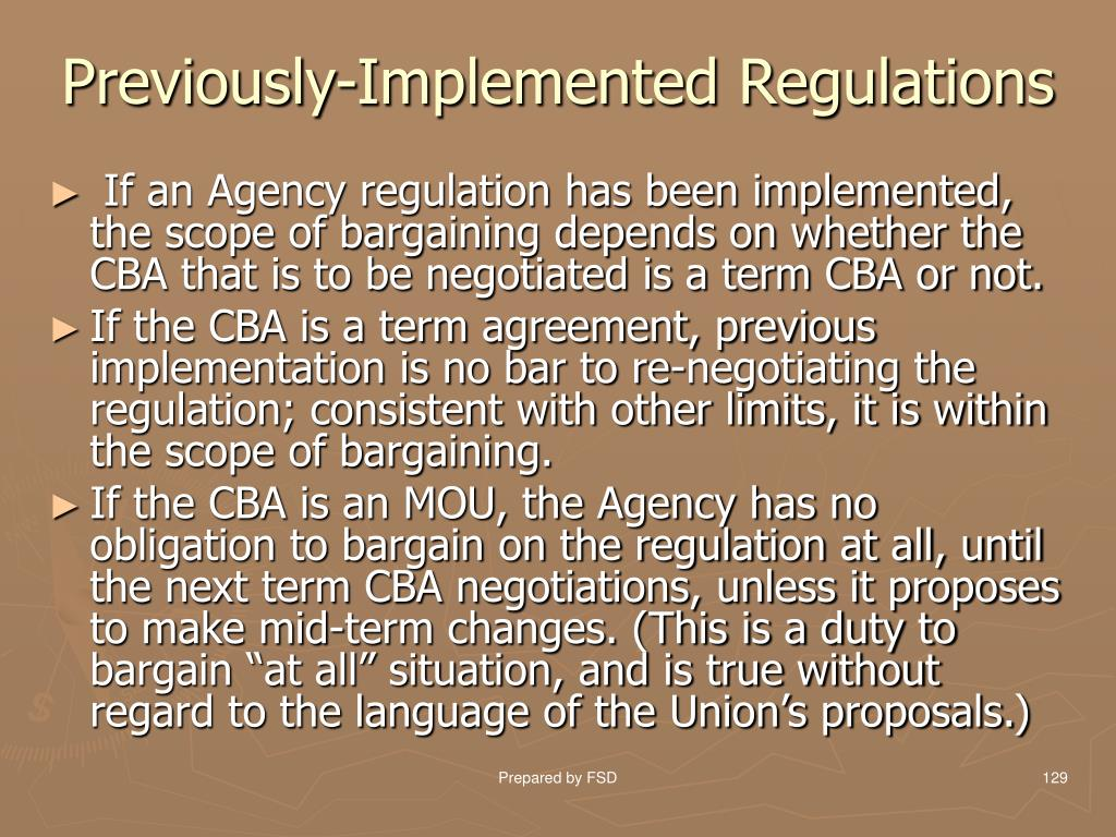 Previously-Implemented Regulations