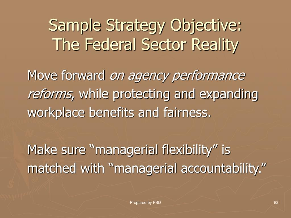 Sample Strategy Objective: