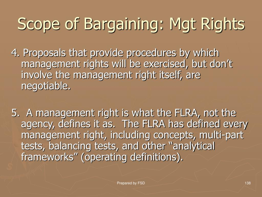 Scope of Bargaining: Mgt Rights