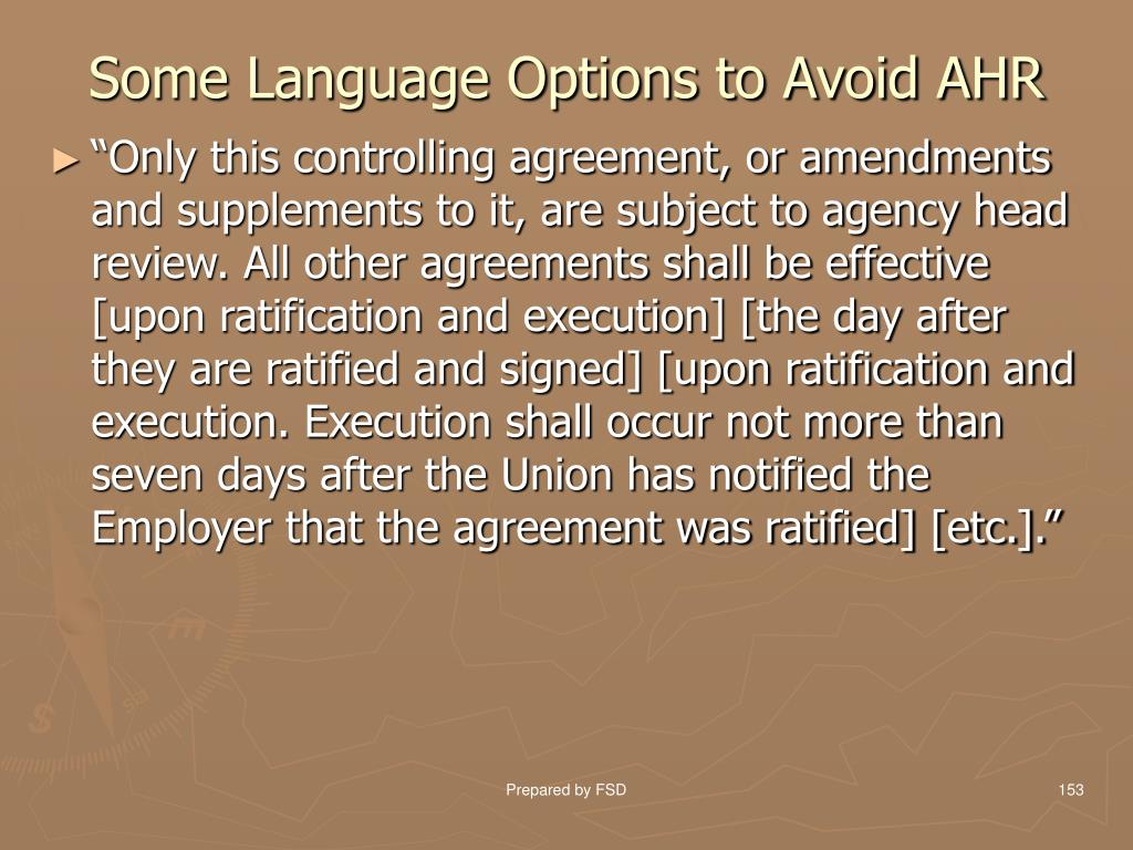 Some Language Options to Avoid AHR