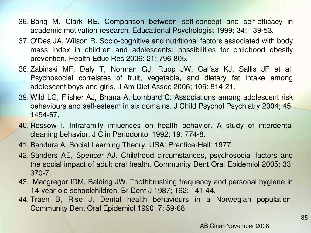 Bong M, Clark RE. Comparison between self-concept and self-efficacy in academic motivation research. Educational Psychologist 1999; 34: 139-53.