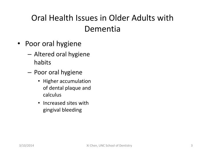Oral health issues in older adults with dementia