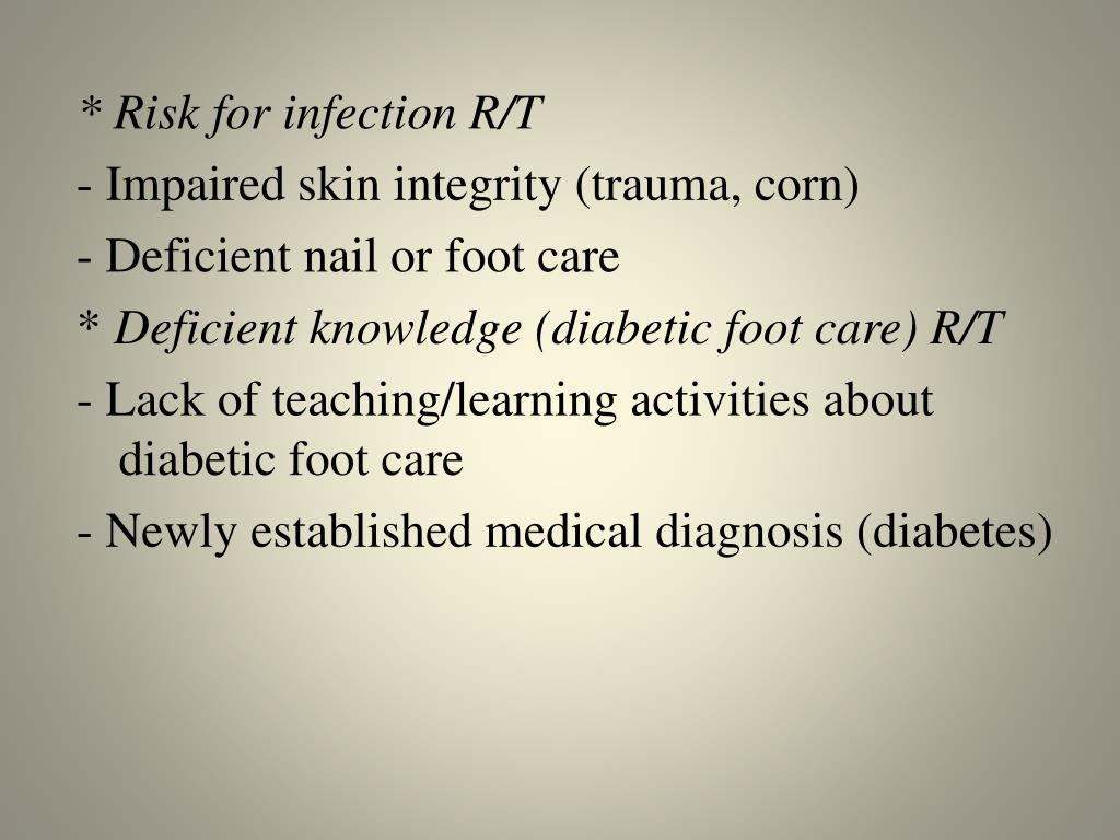 * Risk for infection R/T