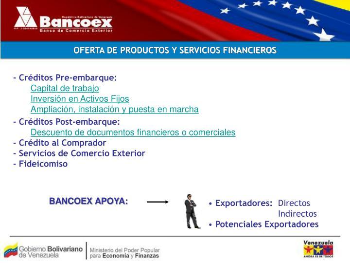 OFERTA DE PRODUCTOS Y SERVICIOS FINANCIEROS