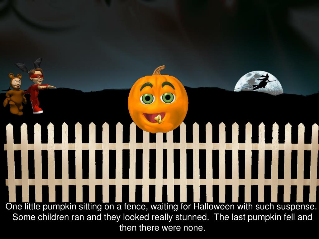 One little pumpkin sitting on a fence, waiting for Halloween with such suspense.