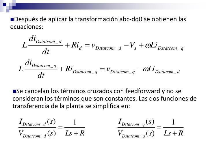 Después de aplicar la transformación abc-dq0 se obtienen las ecuaciones: